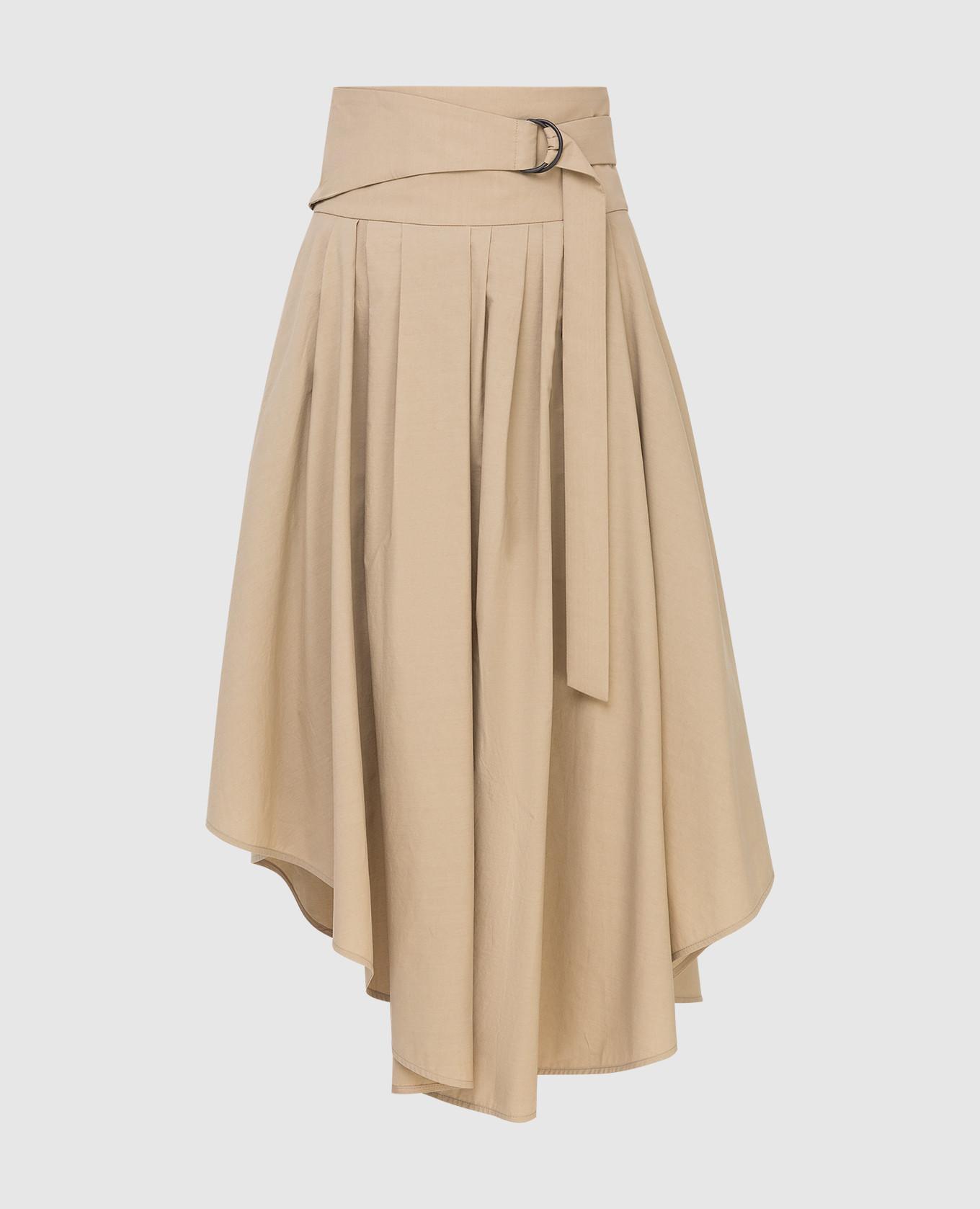 Бежевая юбка с карманами