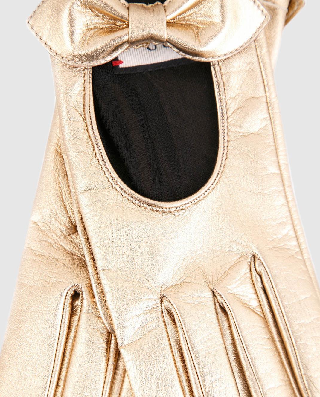 Gucci Золотистые кожаные перчатки с бантами 477968DI900 изображение 3