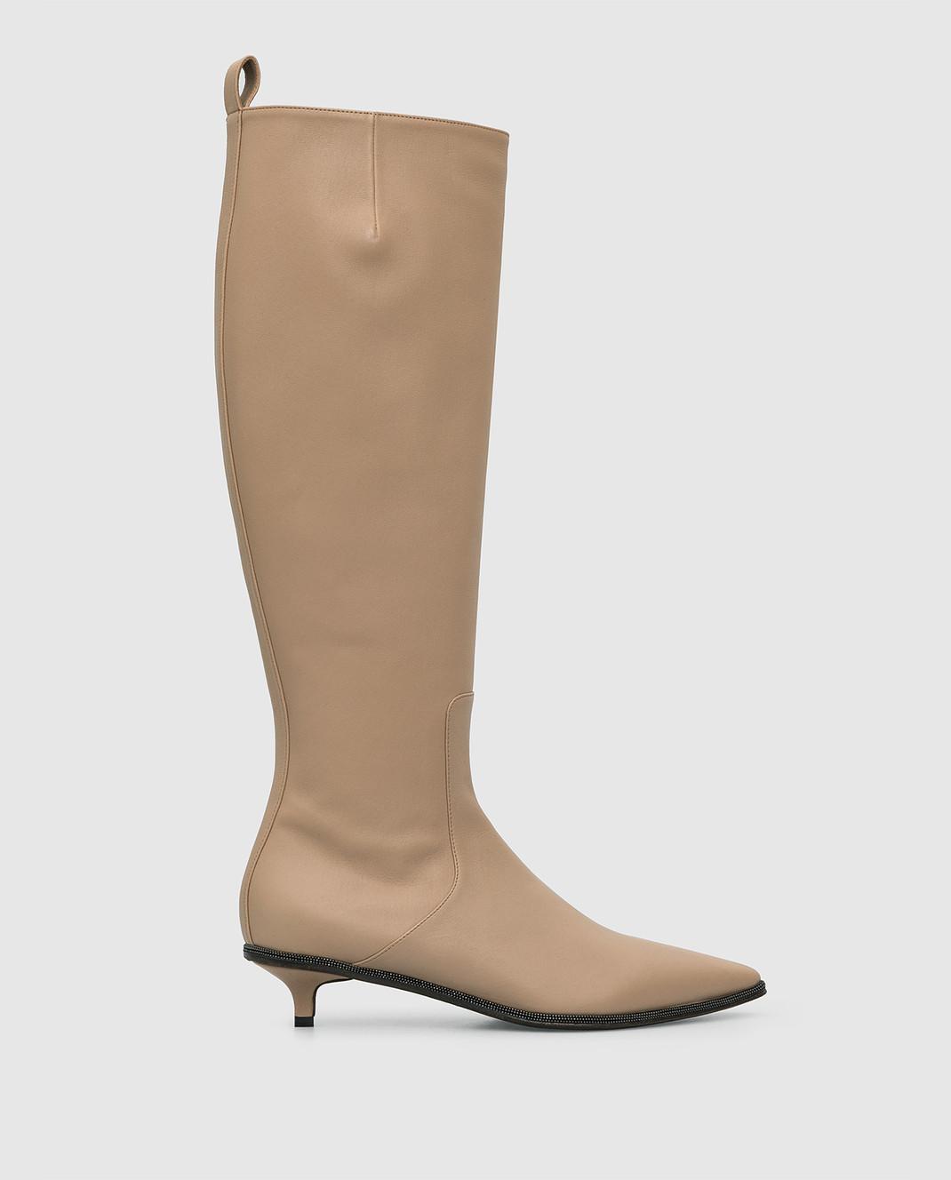 Brunello Cucinelli Бежевые кожаные сапоги изображение 1