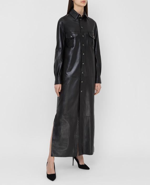 Черное кожаное платье hover