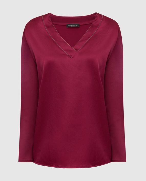 Бордовая блуза из шелка