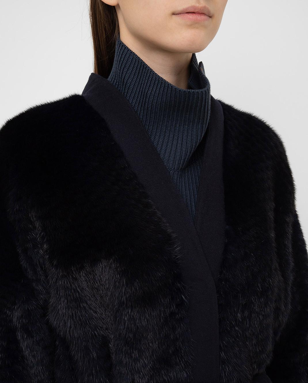 Giuliana Teso Темно-синяя шуба из норки 84KA062 изображение 5