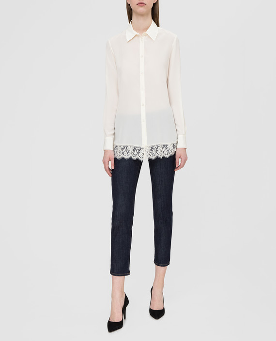 Белая рубашка из шелка с кружевом hover