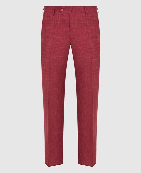 Красные брюки из шерсти, шелка и льна