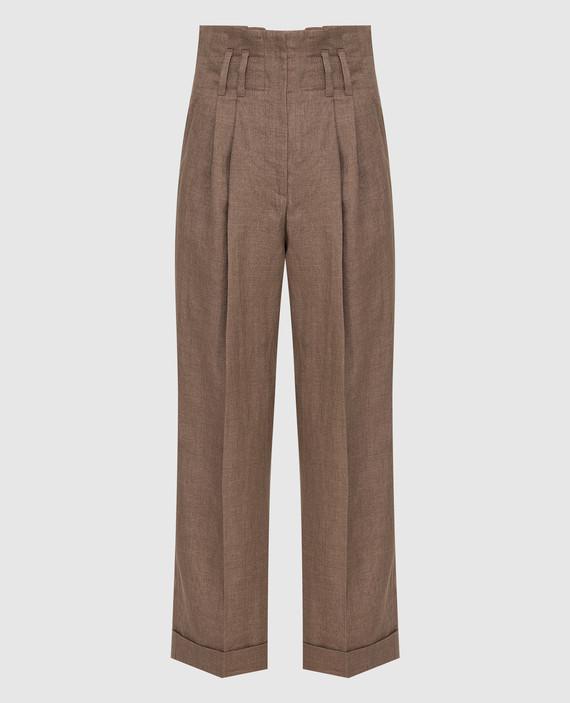 Темно-бежевые брюки из льна