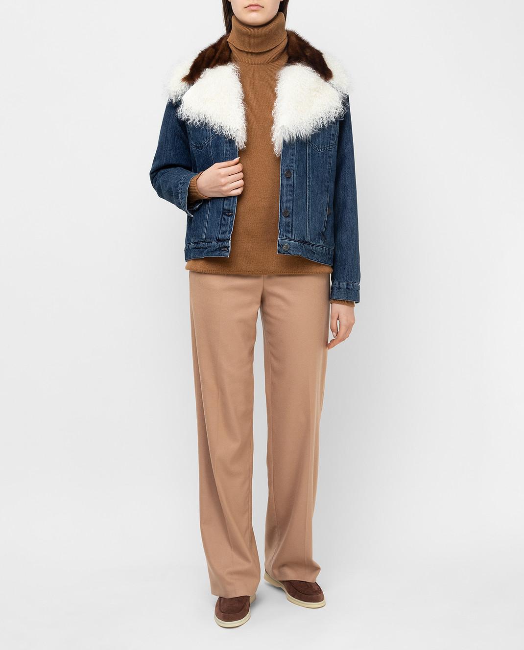 Simonetta Ravizza Синяя джинсовая куртка с мехом норки JALE3 изображение 2