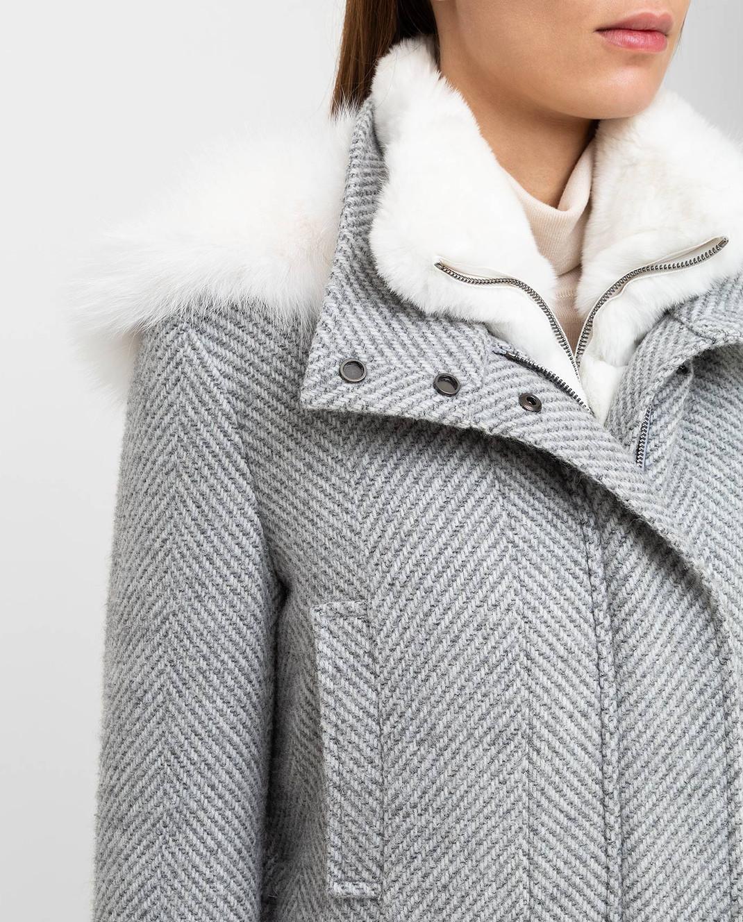 Giuliana Teso Серая парка из шерсти и альпаки с мехом лисы 84QS590 изображение 5