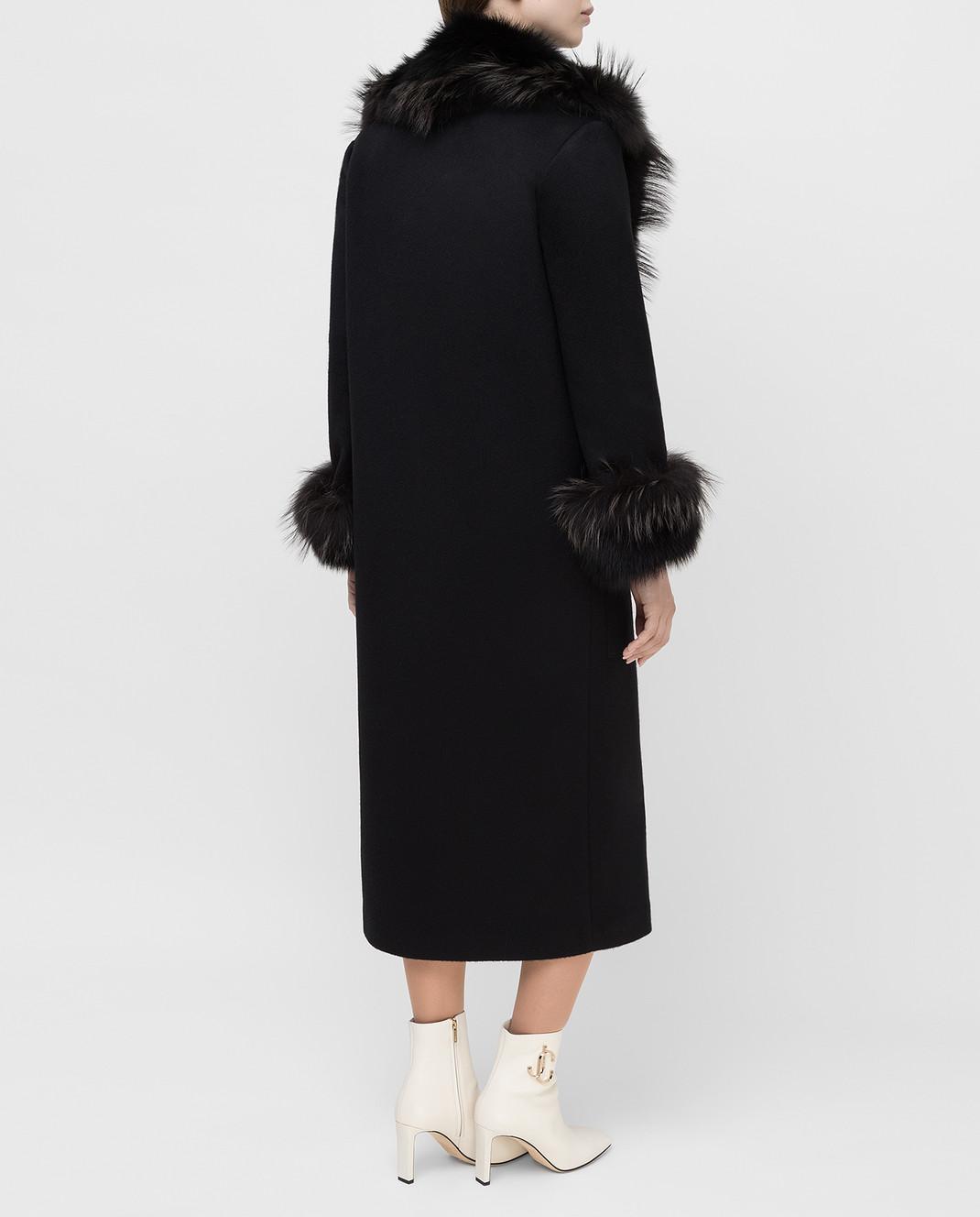 Rindi Черное пальто из кашемира с мехом лисы 277TE017 изображение 4