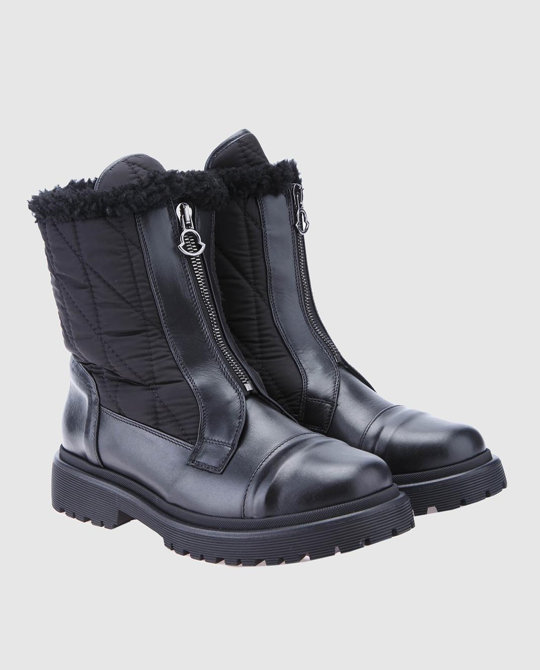 Moncler Черные кожаные ботинки 20314 изображение 2