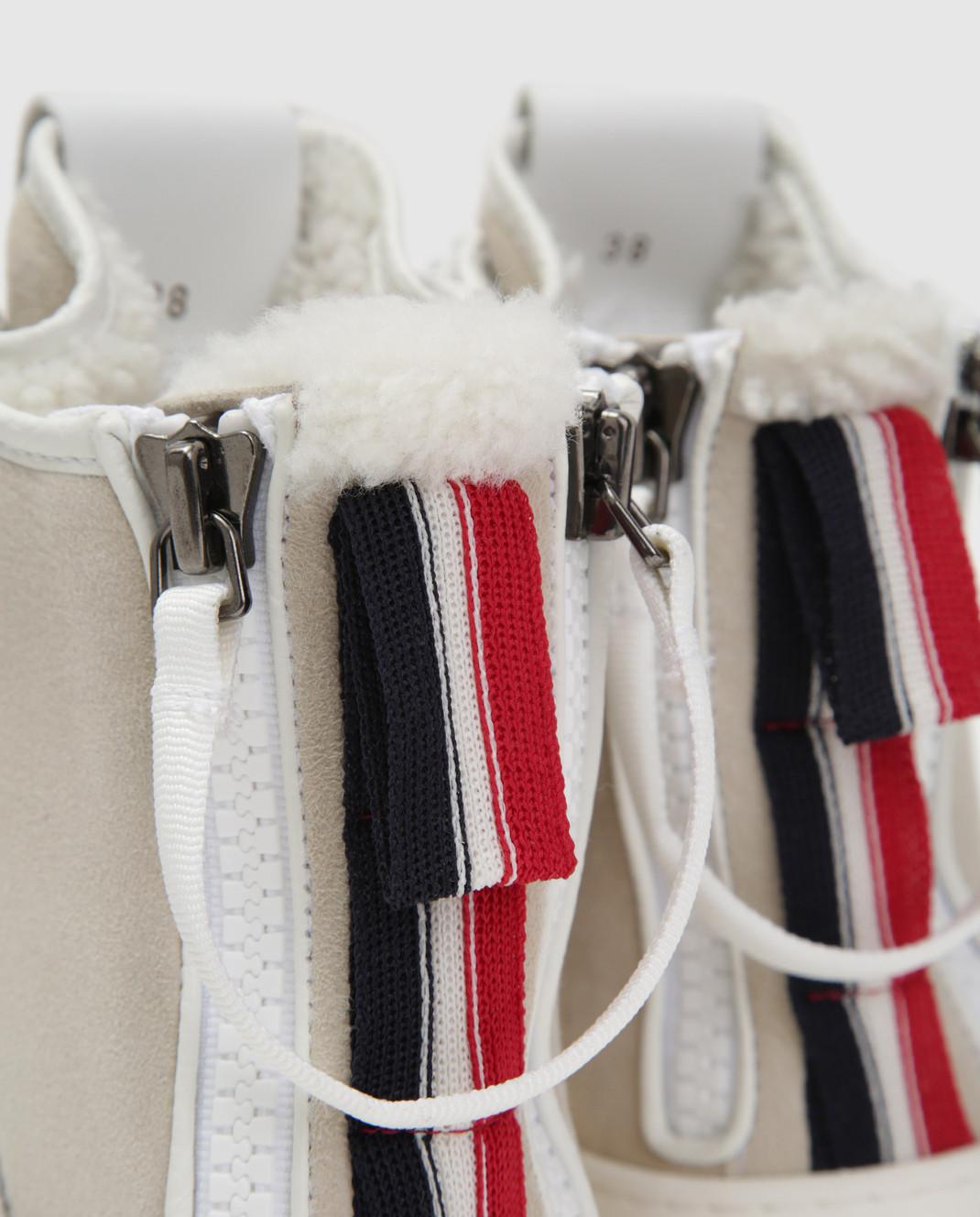 Moncler Белые кожаные хайтопы 20496 изображение 5