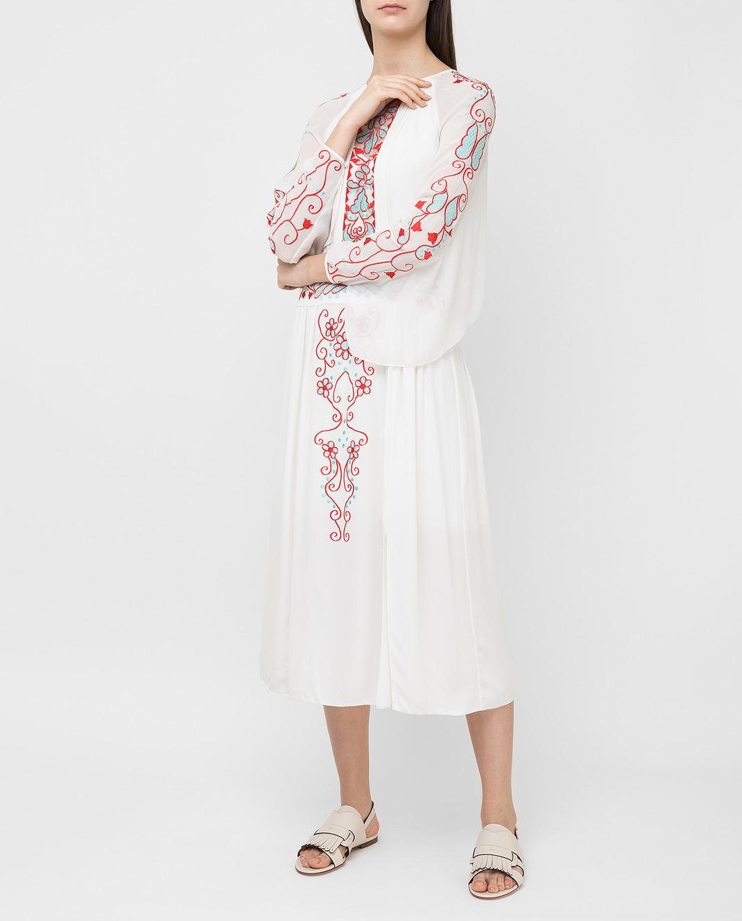 Temperley London Белое платье из шелка 16S73650959 изображение 2