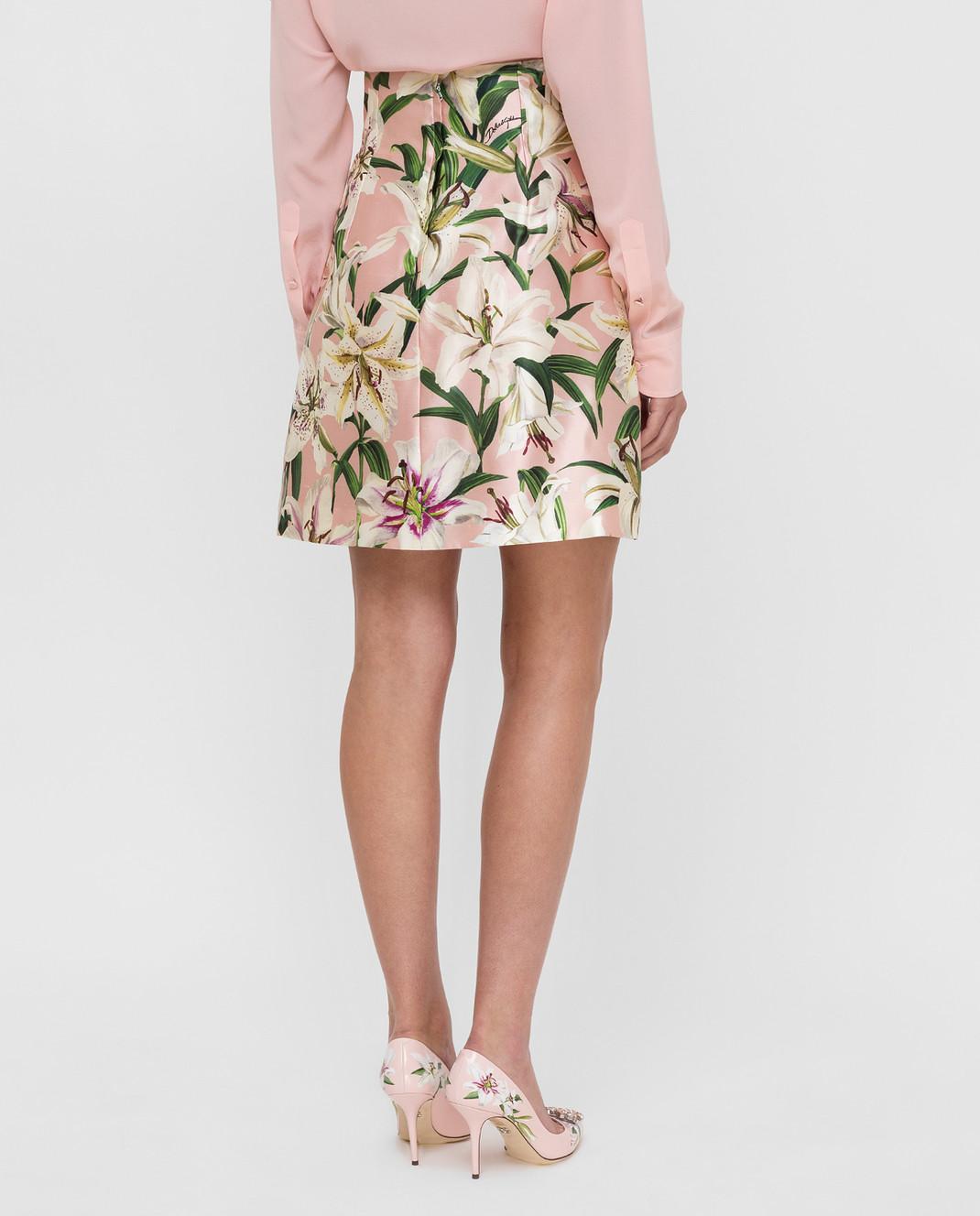 Dolce&Gabbana Розовая юбка из шелка F4BOLTHS149 изображение 4