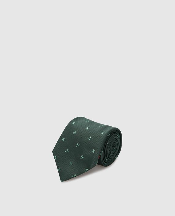 Зеленый галстук из шелка