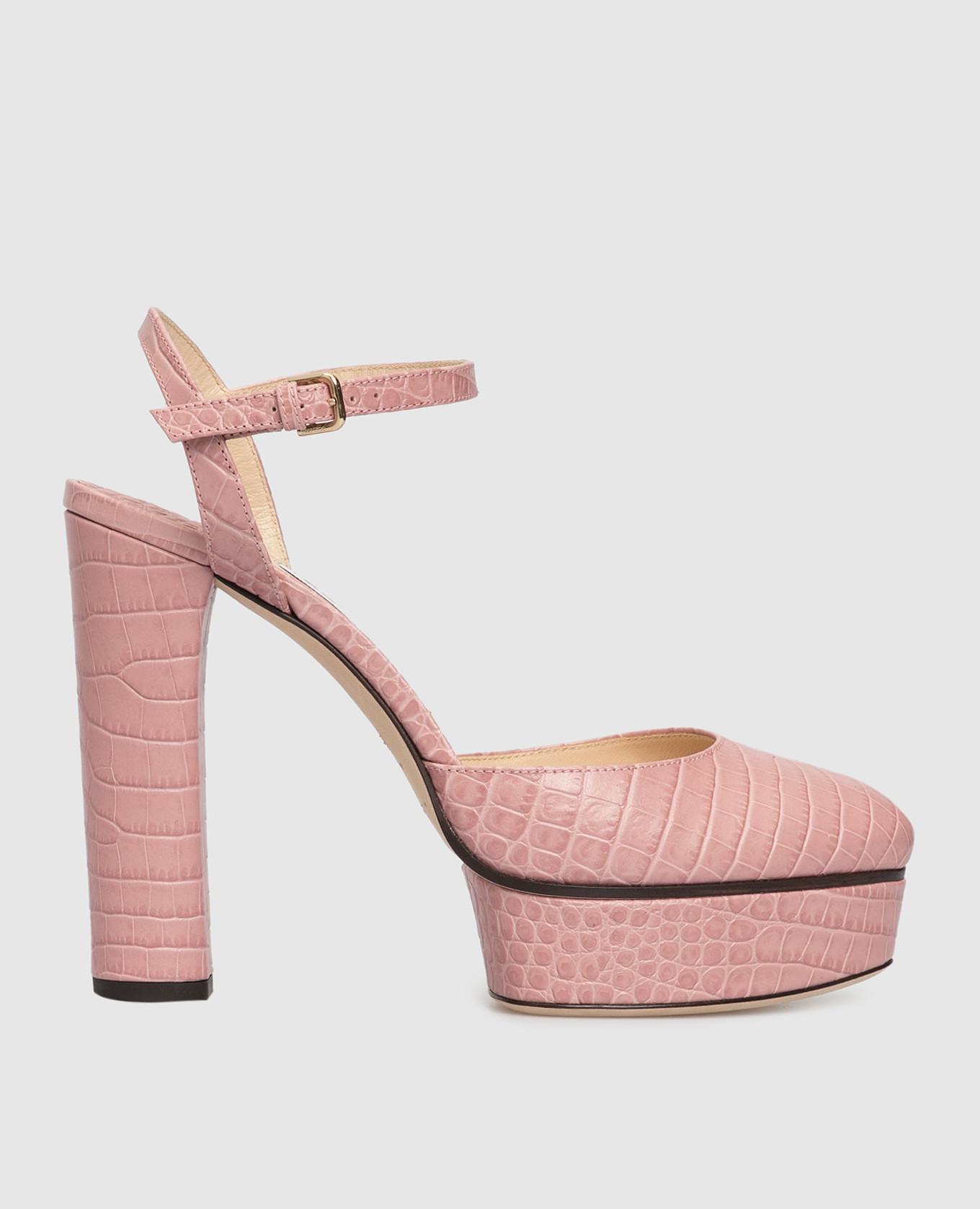 Розовые кожаные босоножки
