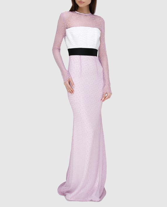 Сиреневое платье из кружева hover