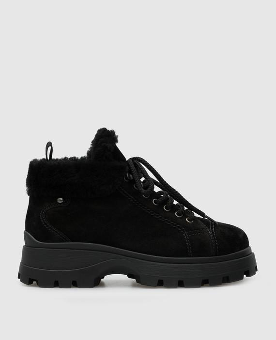 Черные замшевые ботинки на меху