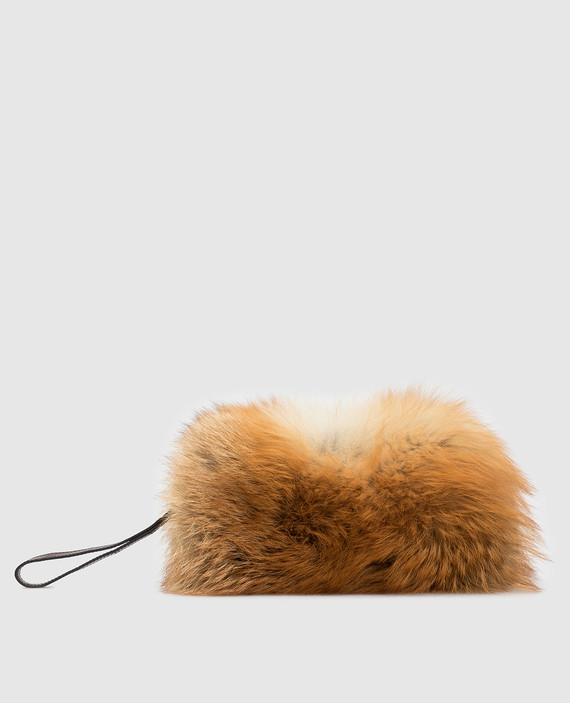 Светло-коричневая сумка из меха лисы