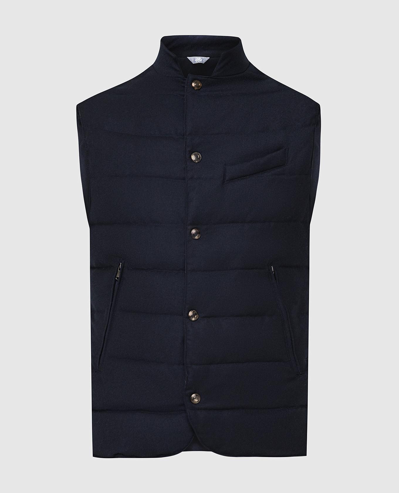 Темно-синий жилет из шерсти