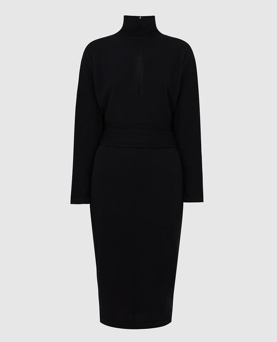 Черное платье из кашемира