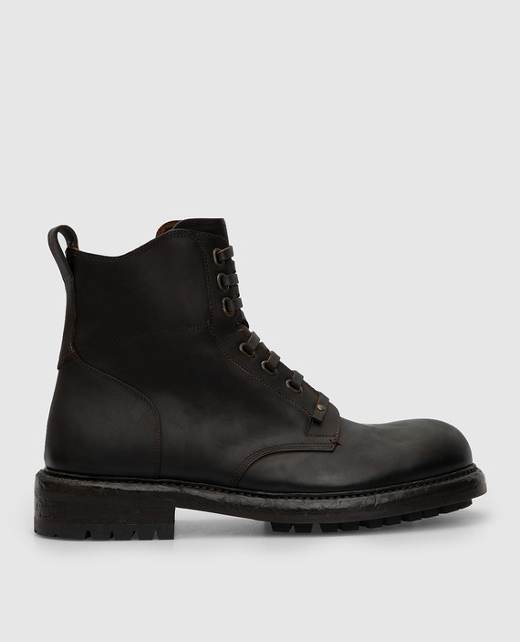 Темно-коричневые кожаные ботинки