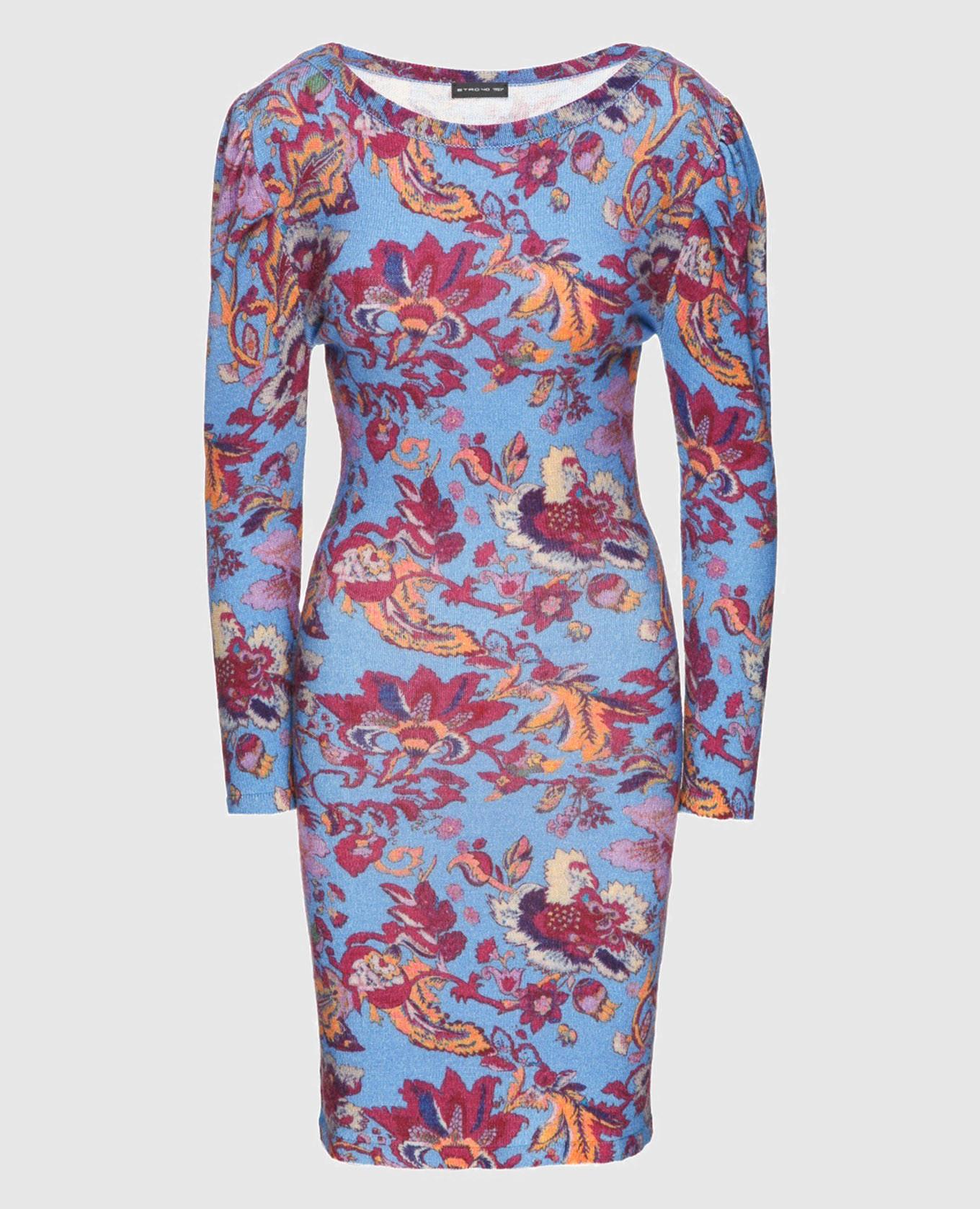 Синее платье из шерсти