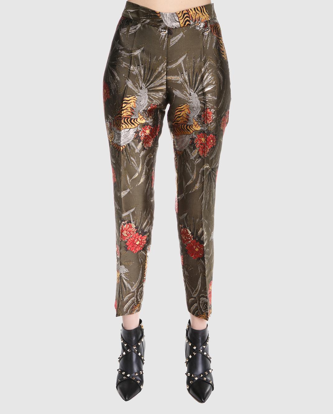 PAROSH Оливковые жаккардовые брюки D230049 изображение 3