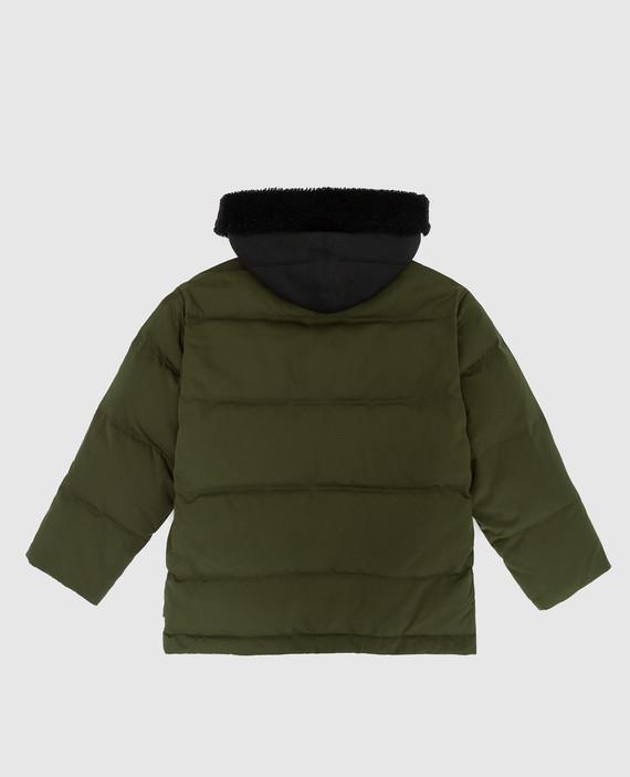 Детский зеленый пуховик с мехом барашка hover