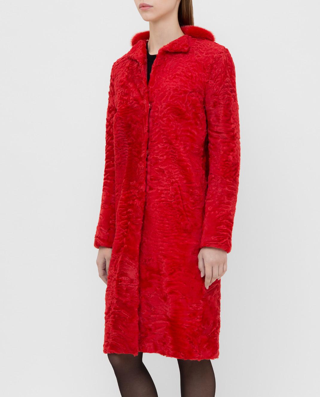Giambattista Valli Красная шуба из персидского ягненка с воротником из меха норки GBE45A00CPP0365 изображение 3