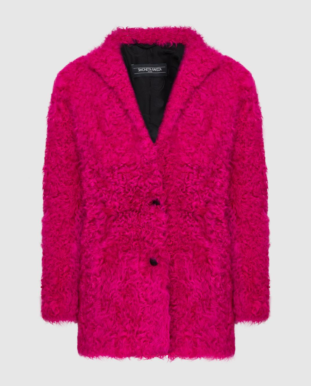 Simonetta Ravizza Розовая шуба из меха овцы CARLA3