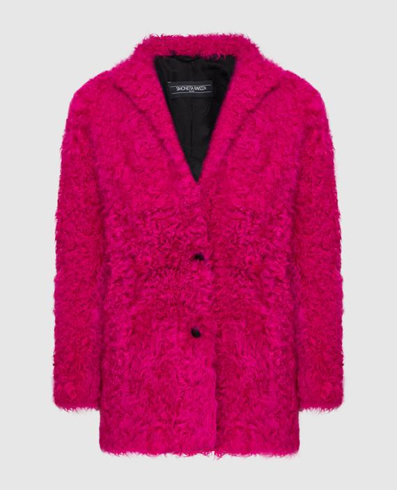 Розовая шуба из меха овцы
