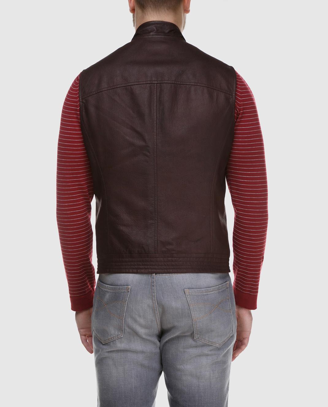 Brunello Cucinelli Коричневый кожаный жилет изображение 4
