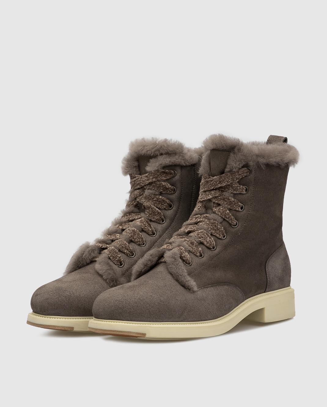 Santoni Темно-серые замшевые ботинки на меху WTEK58384SCOAEYT изображение 3