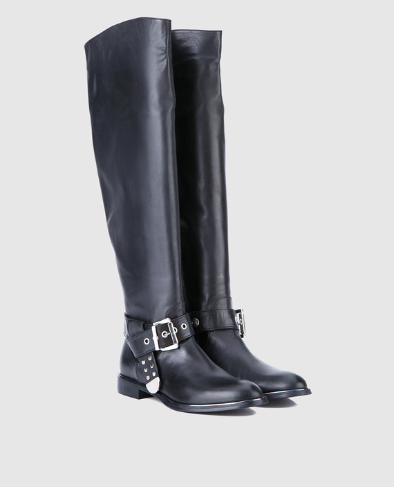 Черные кожаные сапоги hover