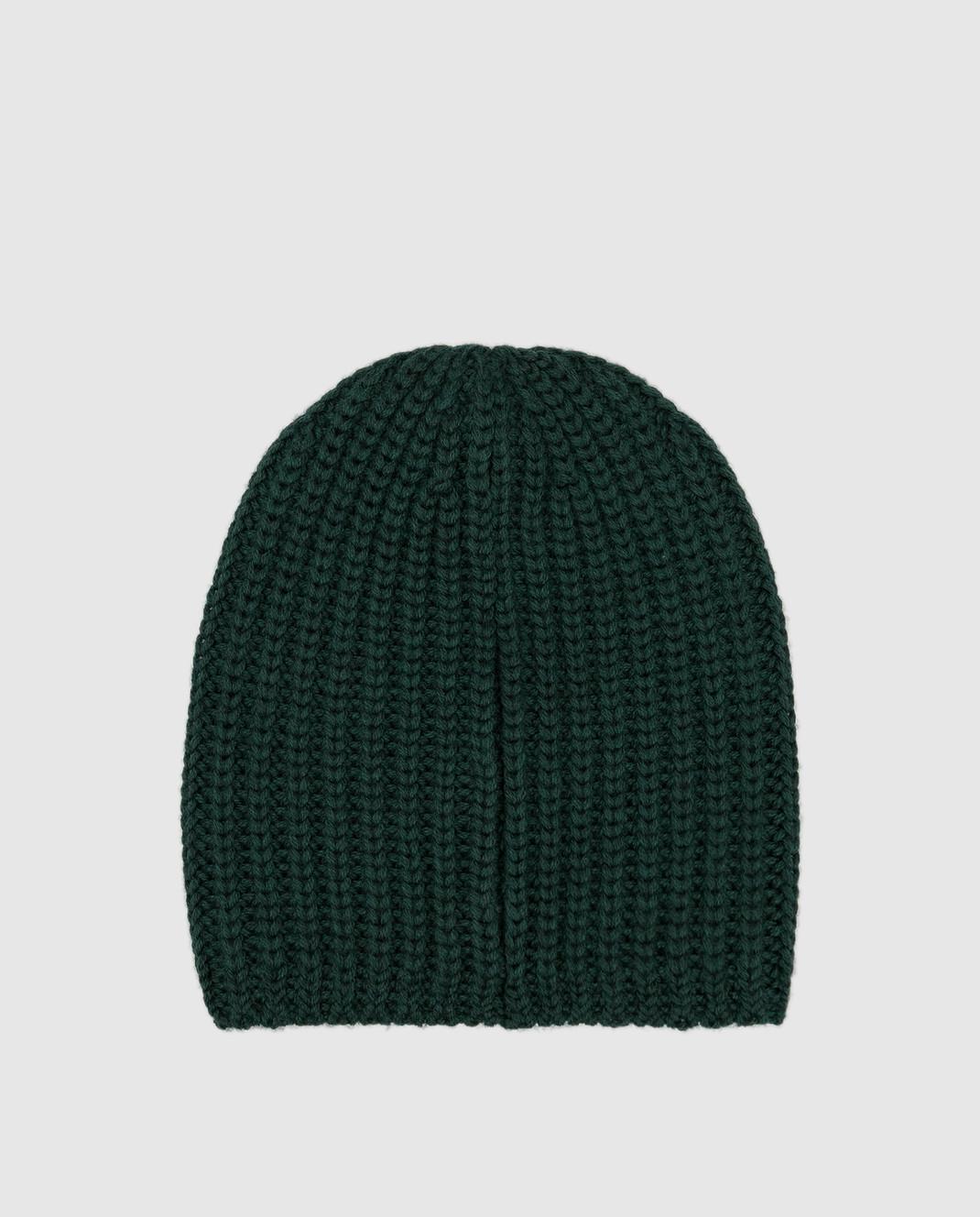 Moncler ENFANT Детская зеленая шапка из шерсти изображение 2