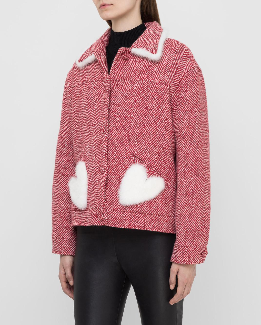 Simonetta Ravizza Красное пальто из шерсти с мехом норки BETH3 изображение 3