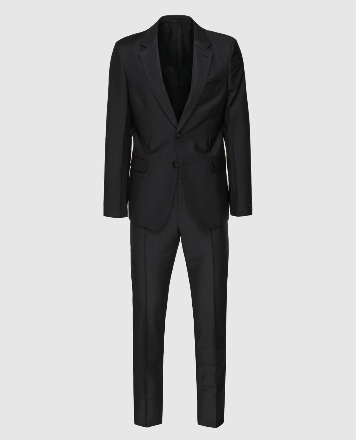 Черный костюм из мохера и шерсти