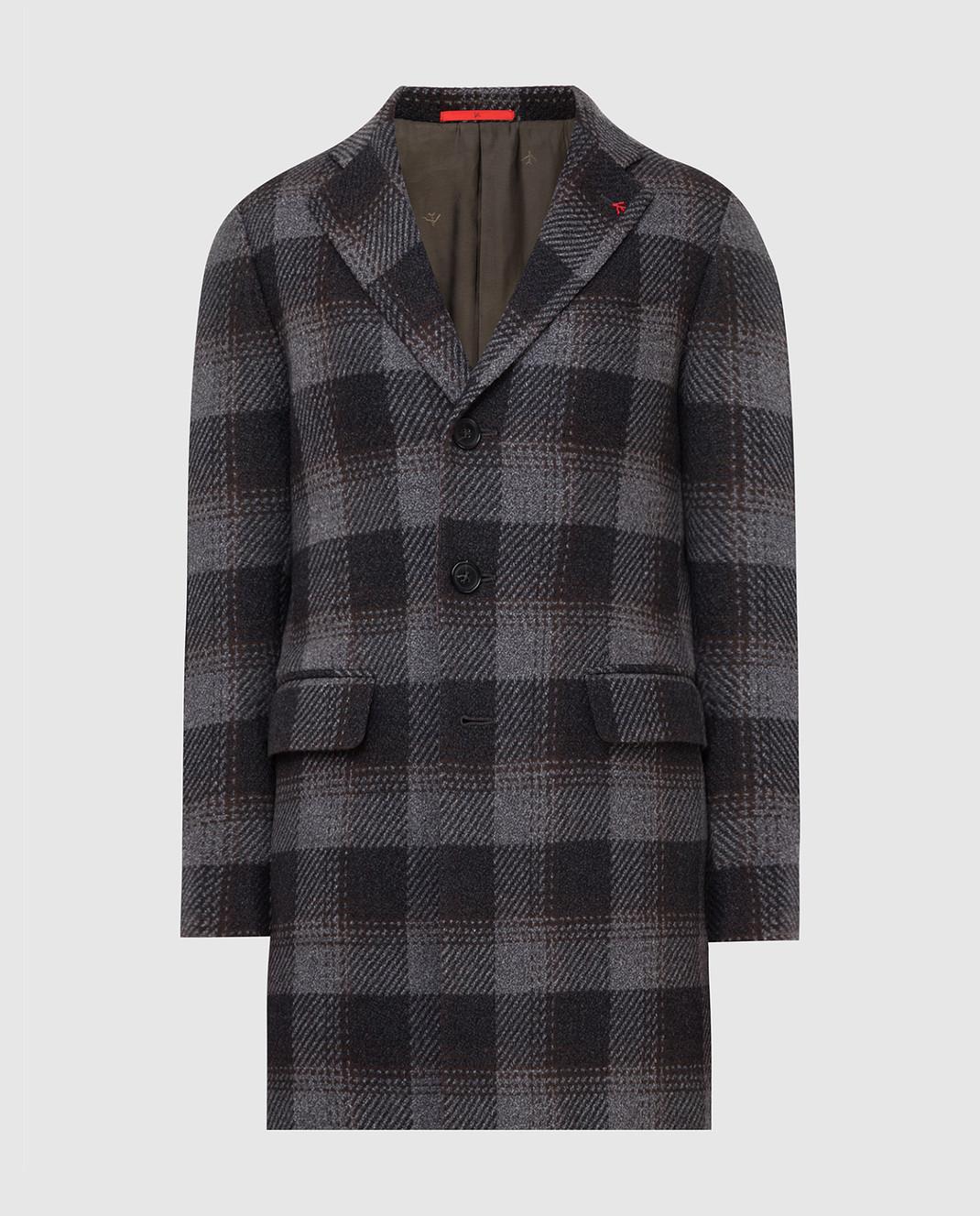 ISAIA Темно-серое пальто из шерсти 00736887340