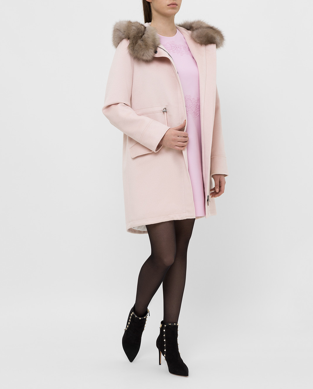 Real Furs House Светло-розовая парка из кашемира с мехом соболя изображение 2