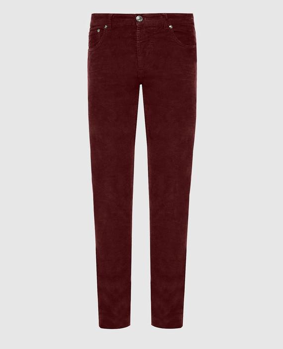 Бордовые вельветовые джинсы