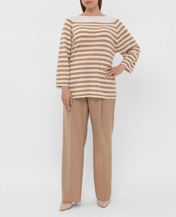 Бежевые брюки из шерсти hover