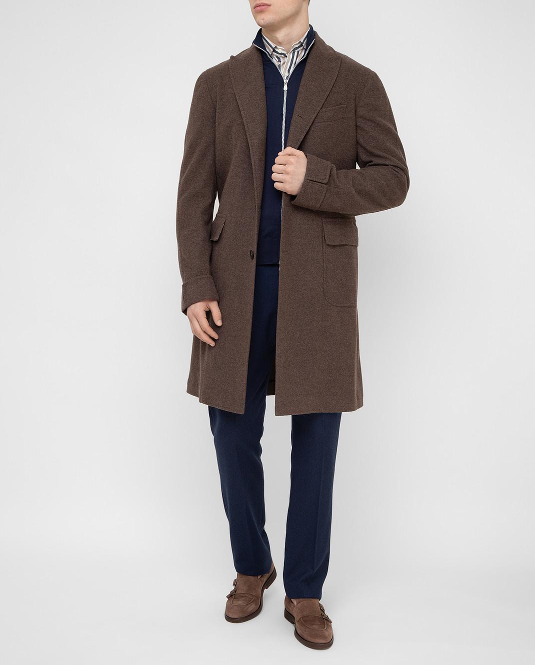 Stile Latino Коричневое пальто из шерсти и кашемира CUALFIO4592TMC20 изображение 2