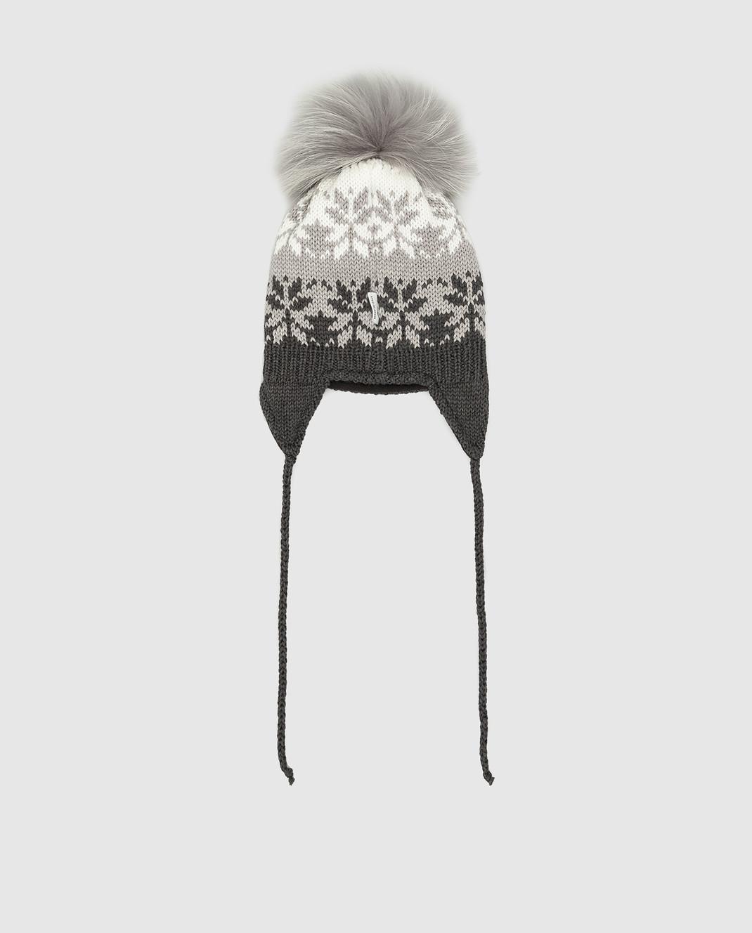 Il Trenino Детская темно-серая шапка из шерсти изображение 2