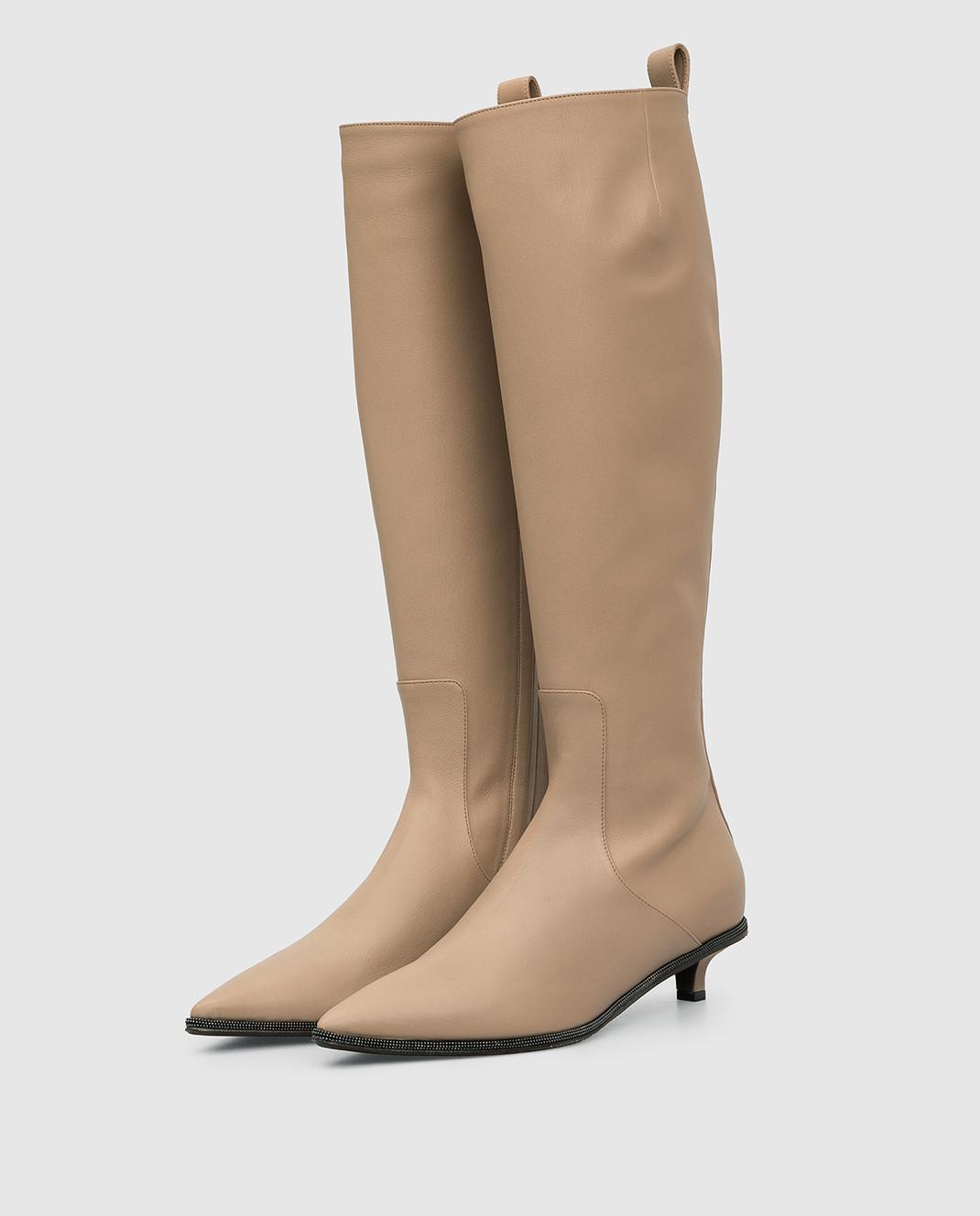 Brunello Cucinelli Бежевые кожаные сапоги изображение 3