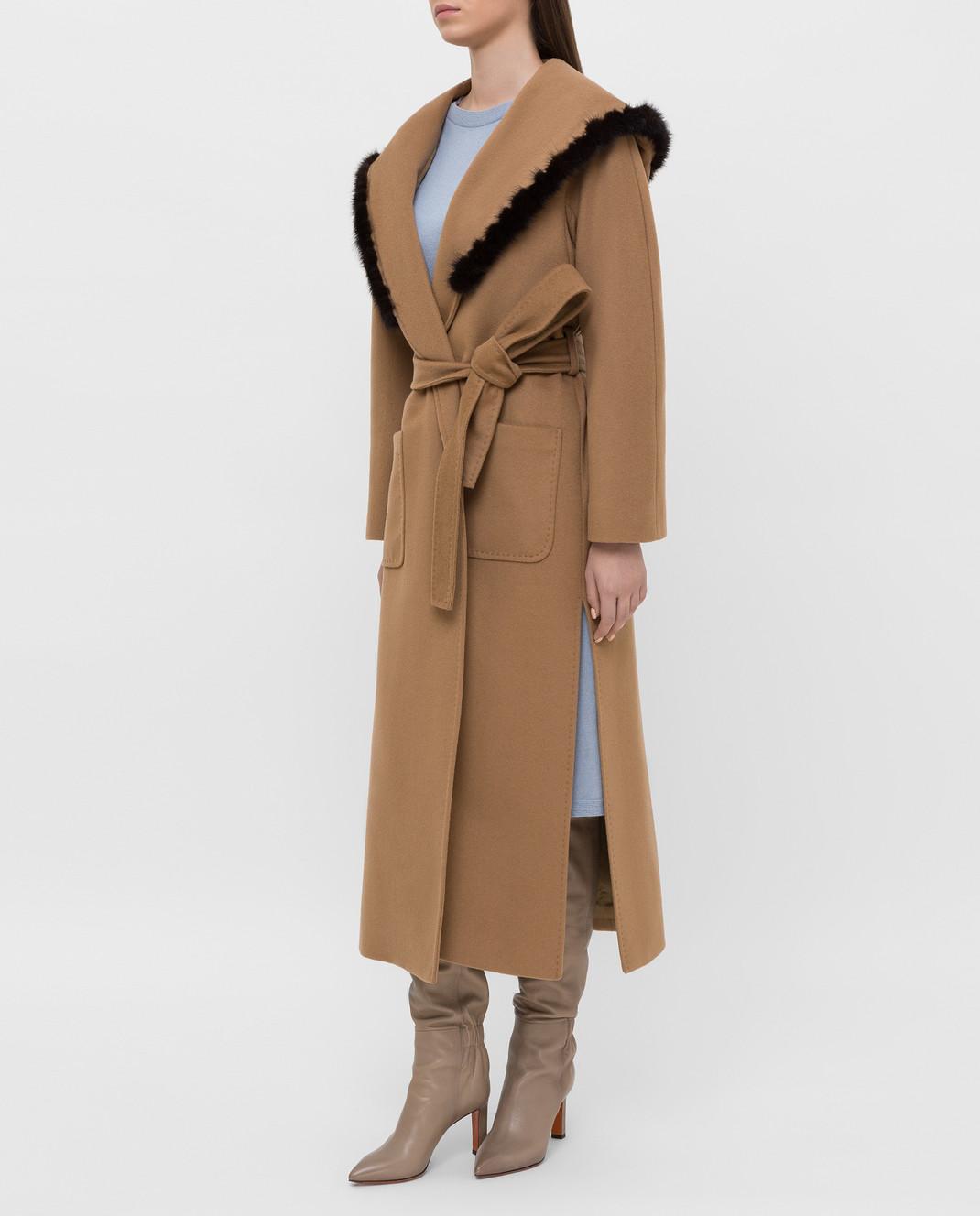 Heresis Бежевое пальто M33130VIA50 изображение 3