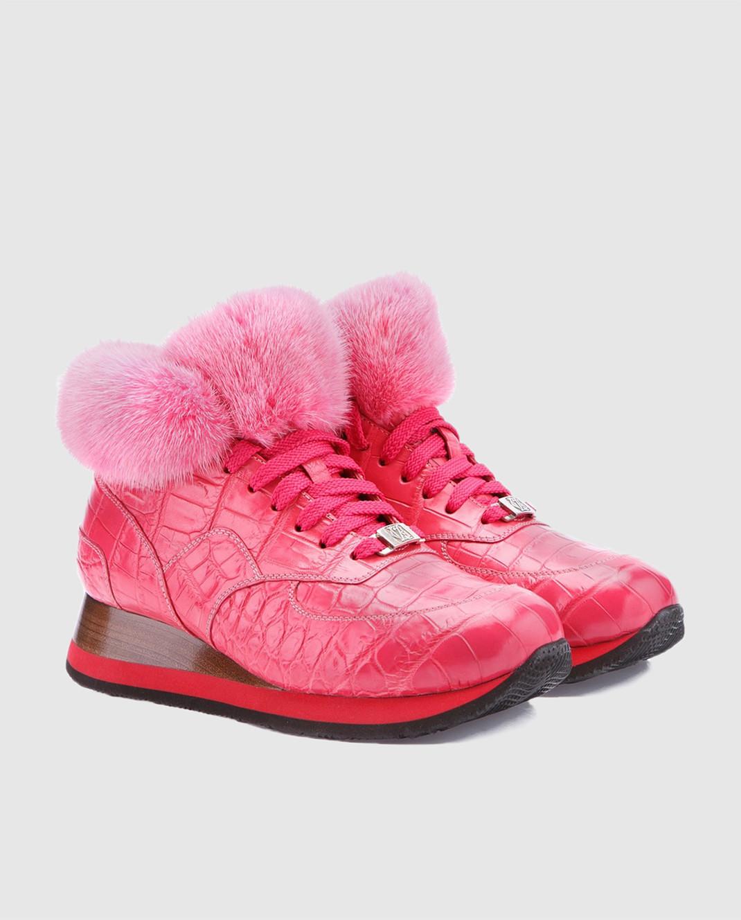 IGOR SENIN Розовые кроссовки ручной работы из кожи крокодила CROCO изображение 2