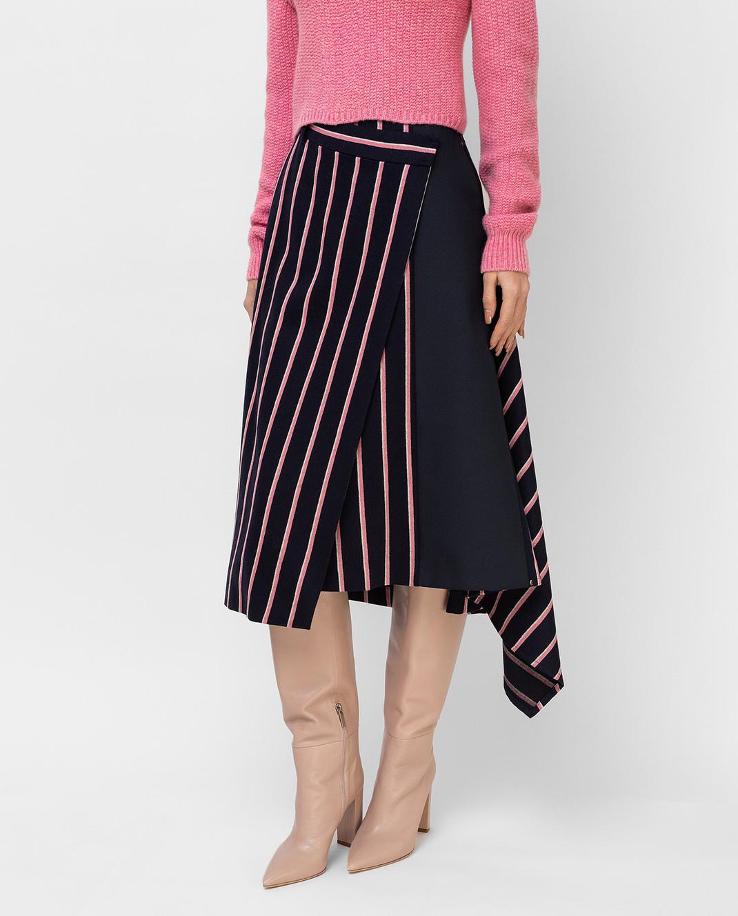 Max Mara Темно-синяя юбка из шерсти PINNE изображение 3
