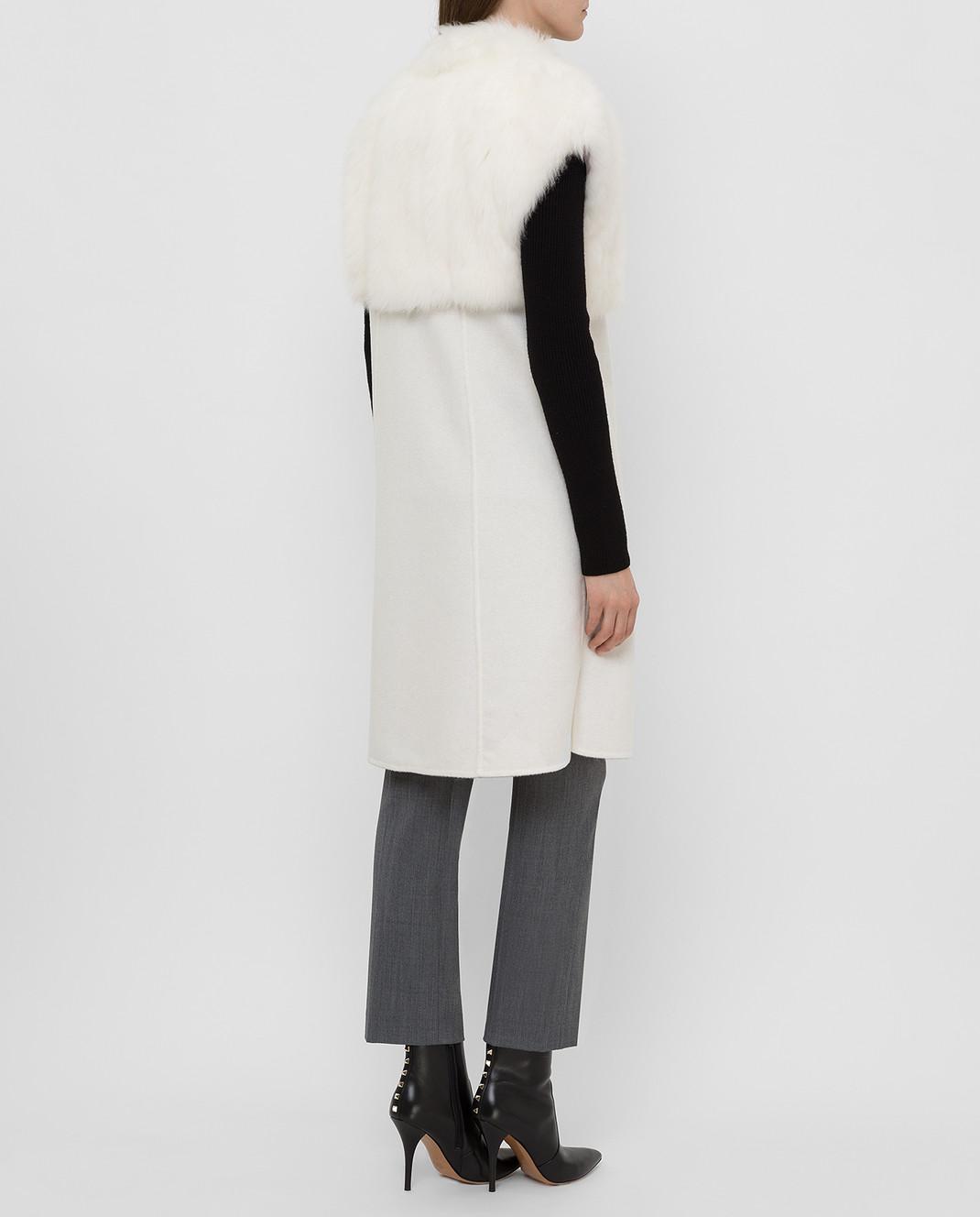 Rindi Светло-бежевое пальто из кашемира с мехом 426OR0R6BIANCO изображение 4