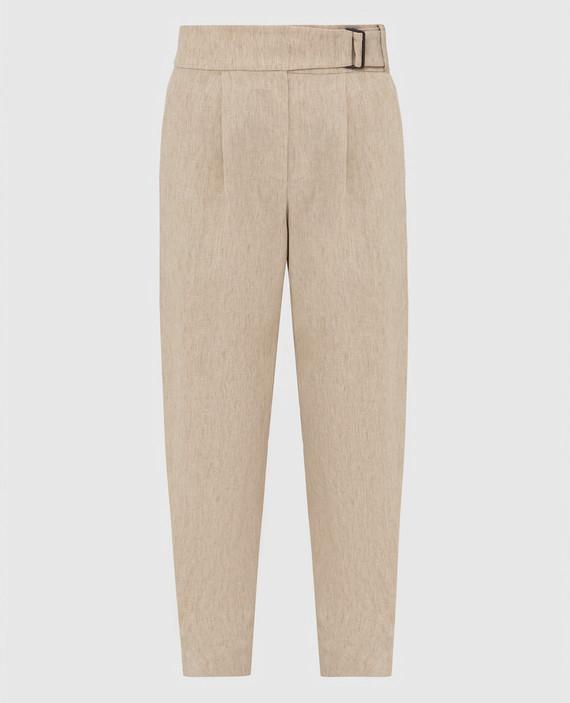 Бежевые брюки из льна