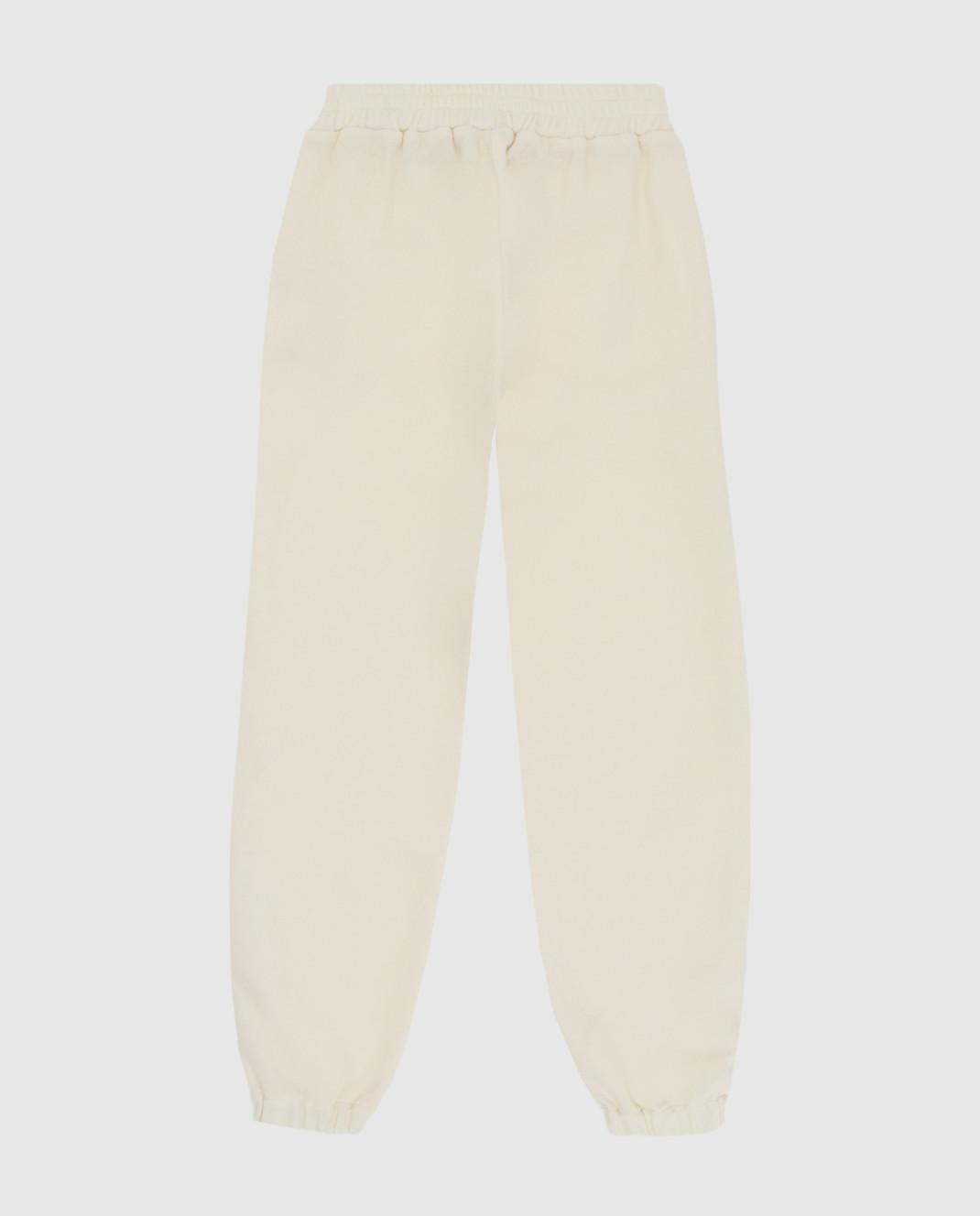 Ermanno Scervino Детские светло-бежевые спортивные брюки из шерсти PL071016 изображение 2