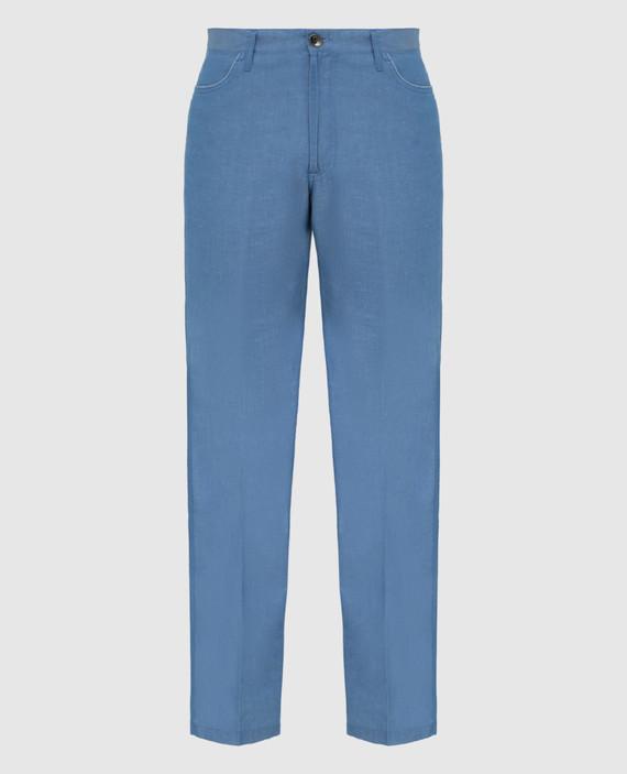 Голубые брюки из льна и хлопка